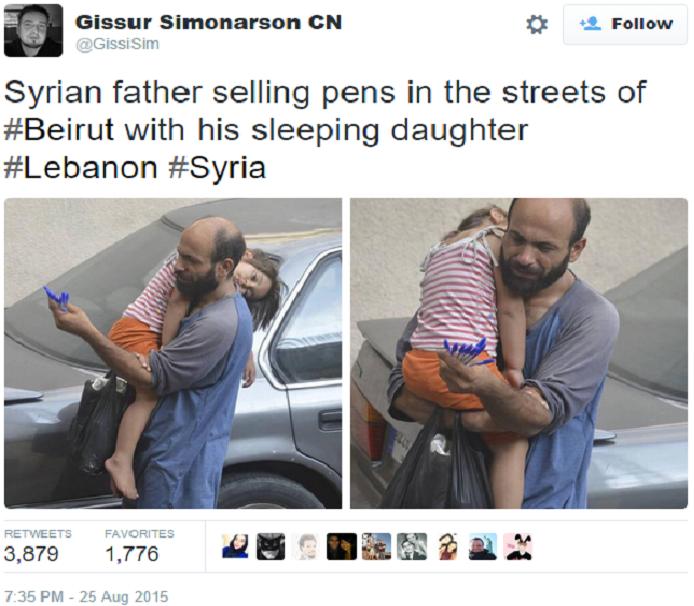 أول تغريدة لجامع التبرعات، كانت حين أشار إلى حالة بائعة الأقلام بصورتين نشرهما له في تويتر