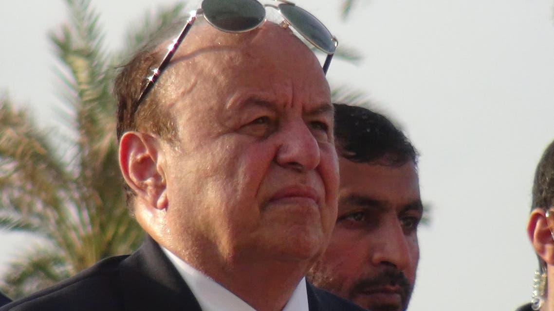Yemen's President Abd-Rabbu Mansour Hadi attends Eid al-Adha prayers in the southern port city of Aden September 24, 2015. REUTERS/Stringer