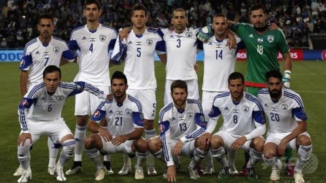 Israel's national football team pose before the EURO 2016 qualifying football match between Israel and Belgium. (AFP)