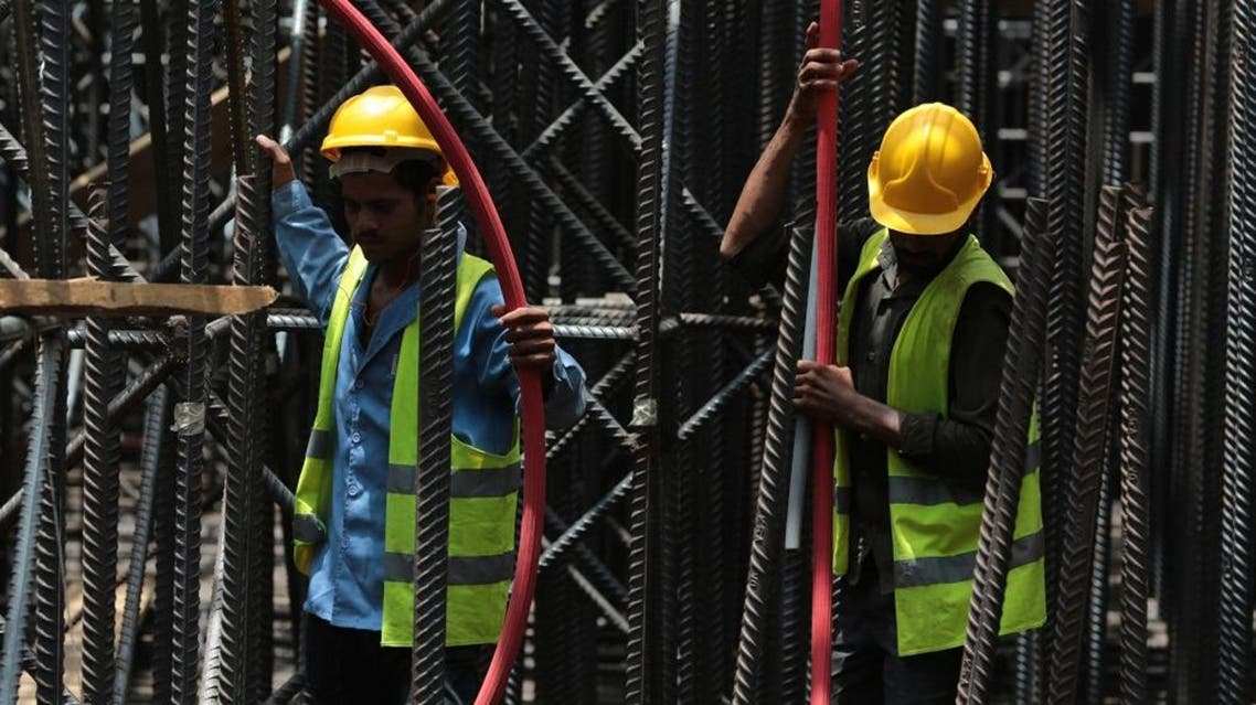 Men do foundation work at the construction site of Kingdom Tower, a planned 252-story building in Jeddah. (File photo: AP)