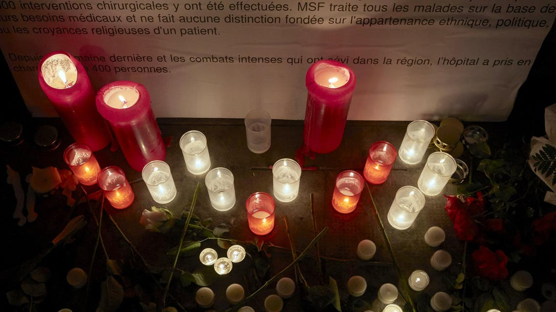 Candles are pictured outside the Medecins Sans Frontieres headquarters in Geneva. (Reuters)