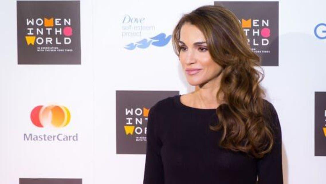 """الملكة رانيا العبدالله خلال مشاركتها في قمة """"المرأة في العالم""""."""