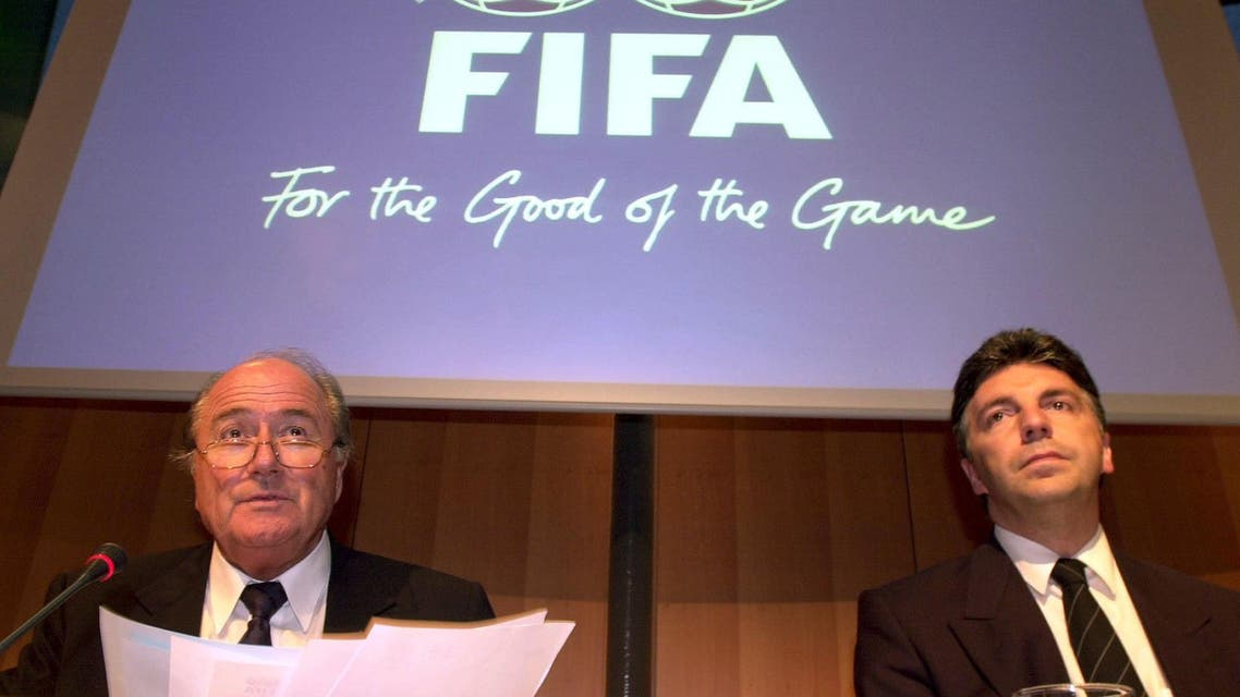 FIFA President Joseph Blatter, left, and Secretary General Michel Zen-Ruffinen answer journalists' questions at a news conference in Zurich, Switzerland, Friday, May 3, 2002. (AP)