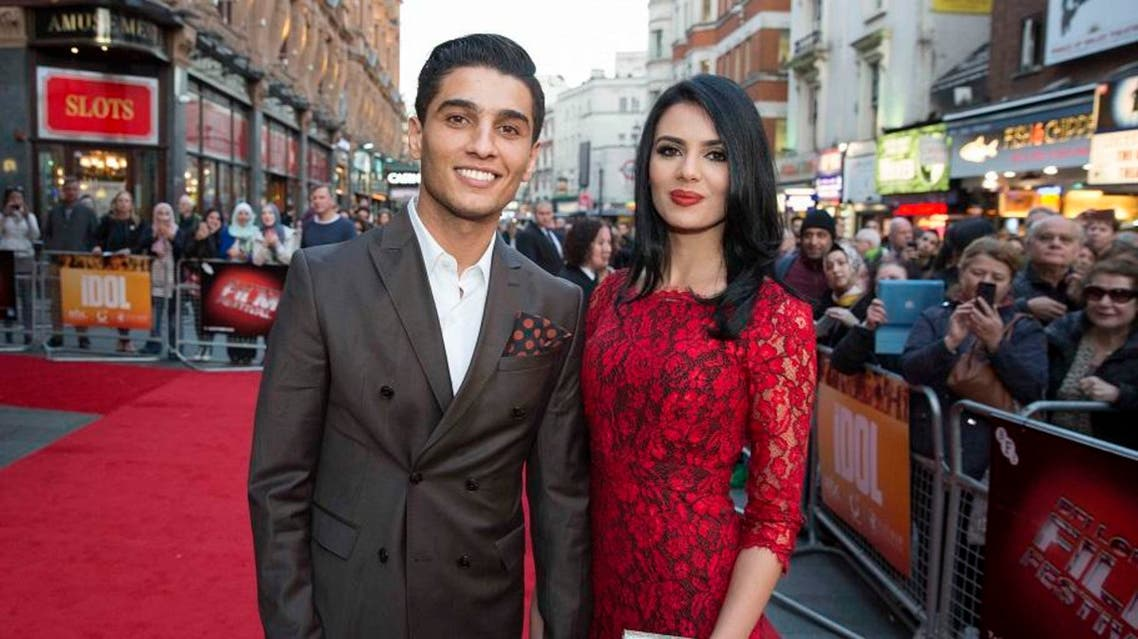 'Arab Idol' star Mohammed Assaf and his fiance on the red carpet in London. (Photo courtesy: MBC Group)