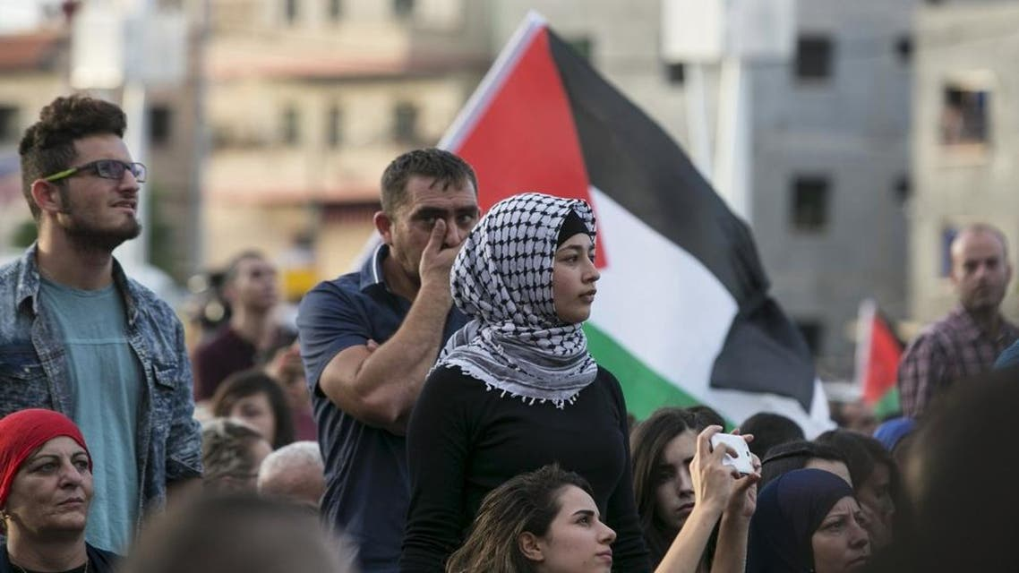 Israeli Arabs take part in a pro-Palestinian rally in the northern Israeli town of Sakhnin October 13, 2015. (Reuters)