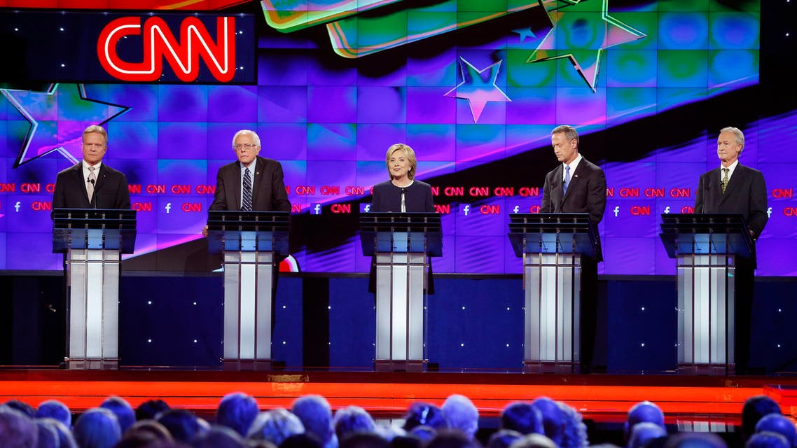 Democratic presidential candidates from left, former Virginia Sen. Jim Webb, Sen. Bernie Sanders, of Vermont, Hillary Rodham Clinton, former Maryland Gov. Martin O'Malley, and former Rhode Island Gov. Lincoln Chafee take the stage before the CNN Democratic presidential debate Tuesday, Oct. 13, 2015, in Las Vegas.