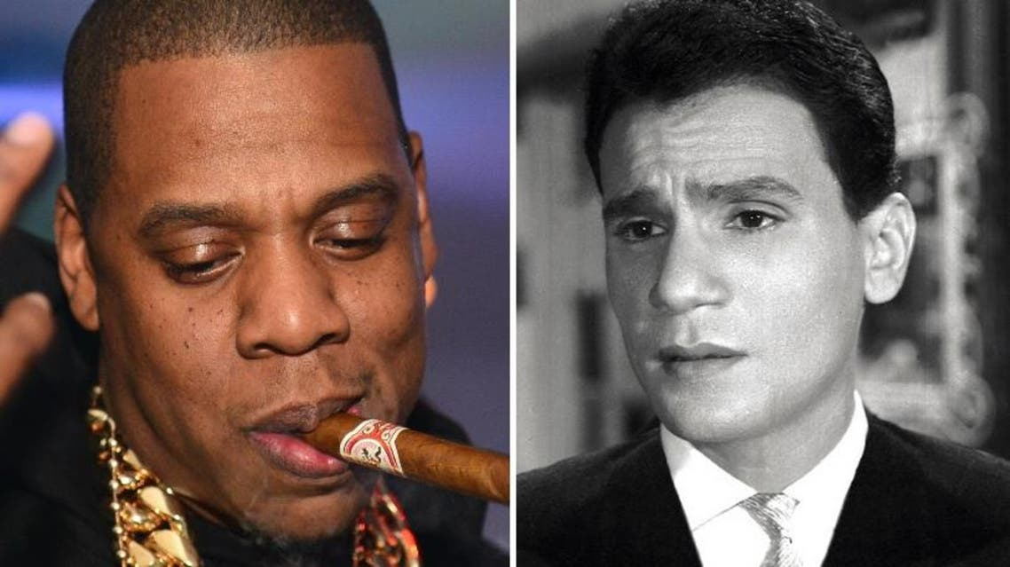 "Facebook image of rappy Jay Z (L) and Egyptian singer Abdel Halim Hafez performing ""Khosara, Khosara."" (Courtesy: Facebook/YouTube) )"