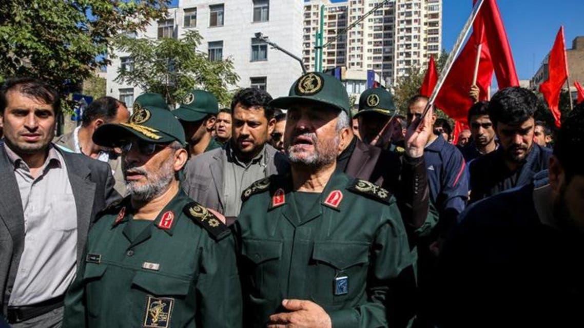 محمد علي جعفري قائد الحرس الثوري أثناء تشييع همداني
