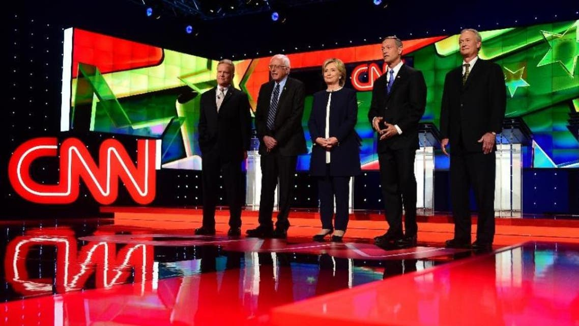 Democratic Presidential candidates (L-R) Jim Webb, Bernie Sanders, Hillary Rodham Clinton, Martin O'Malley, and Lincoln Chafee take the stage during the first Democratic presidential debate in Las Vegas. (AFP)