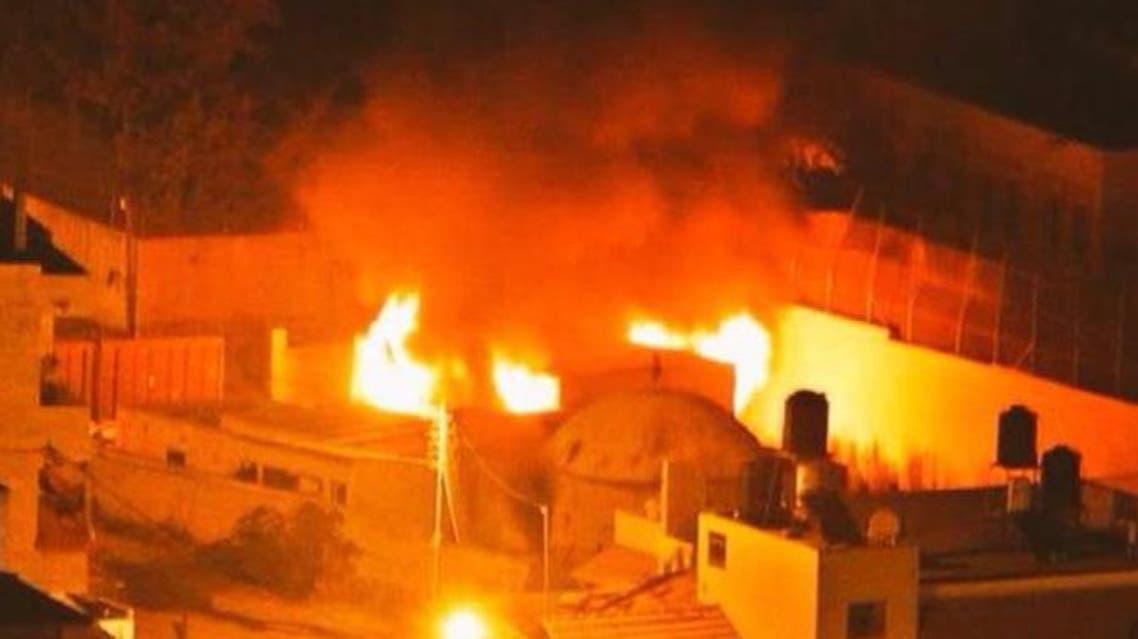 صورة تناقلتها مواقع لحريق قبر يوسف في نابلس