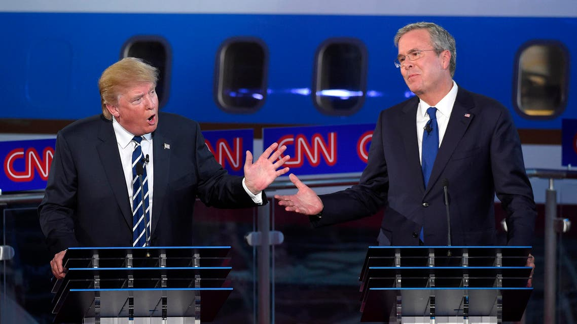 Republican presidential candidate Donald Trump, left, and former Florida Gov. Jeb Bush talk over each other during the CNN Republican presidential debate at the Ronald Reagan Presidential Library and Museum, Wednesday, Sept. 16, 2015,