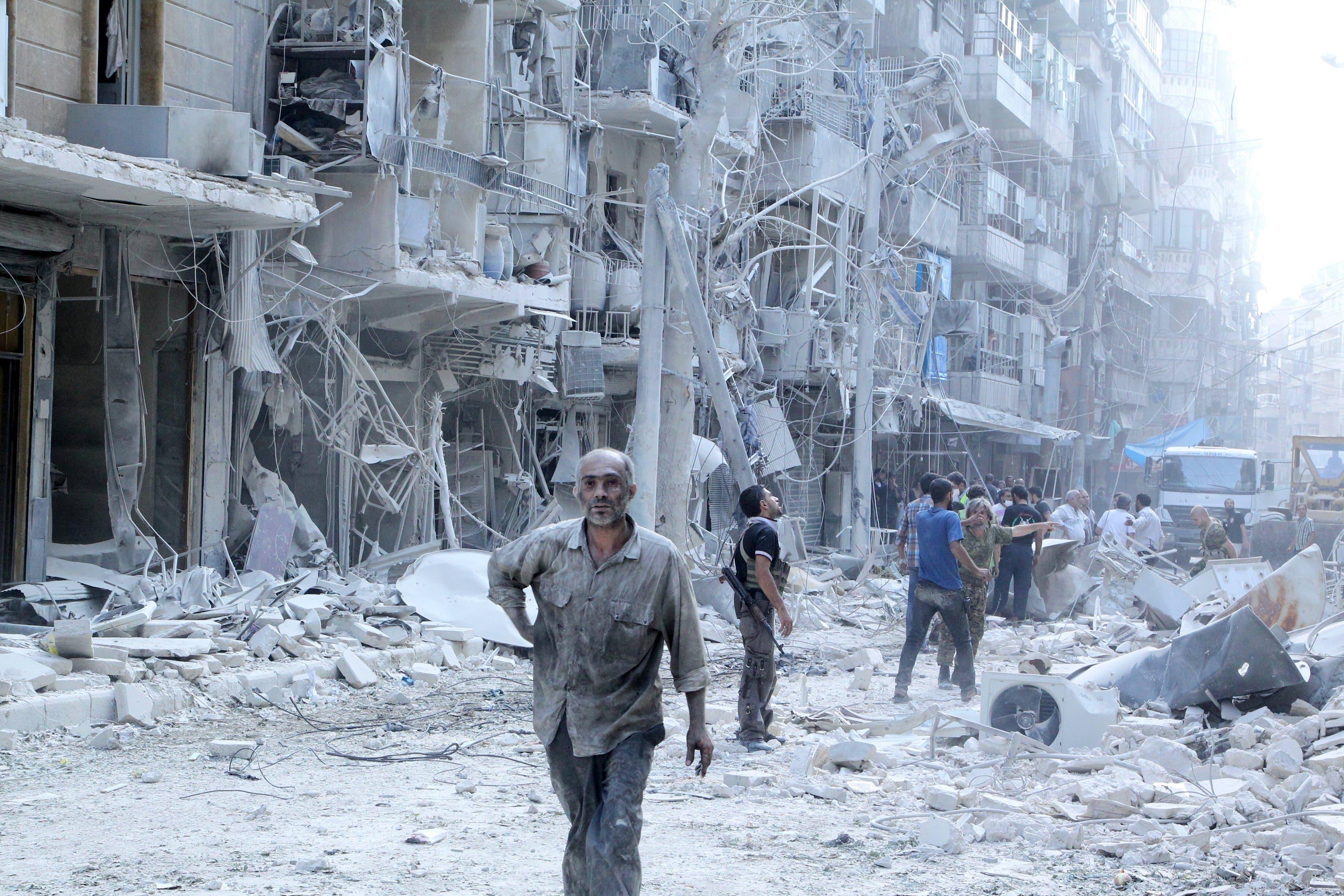 حلب تعرضت لتدمير شامل من جاء قصف نظام بشار الأاسد