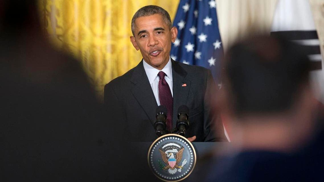 In this Oct. 16, 2015, photo, President Barack Obama answers questions during a joint news conference with South Korean President Park Geun-hye in the East Room of the White House in Washington. For the Democrats running for the White House, Obama has at times been a source of considerable discontent. In the Oct. 13, debate in Las Vegas, they took positions ranging from warm embrace to polite disagreement. Compare that with the public bickering with the Republican presidential candidates and the recent history of how parties have dealt with passing control of the White House. Under their first national spotlight, leading Democrats put forward no drastic re-imaging of Obama's signature policies. (AP Photo/Pablo Martinez Monsivais)