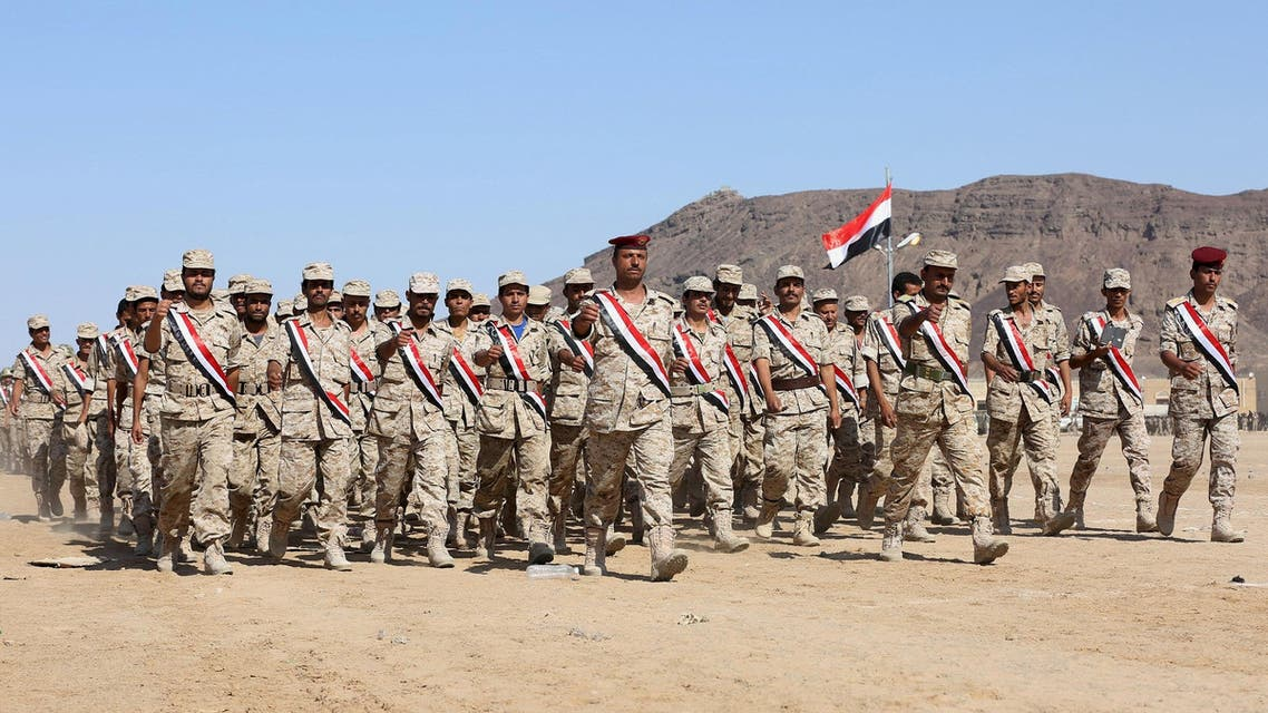 Troops loyal to Yemen's government march during a parade commemorating the 52nd anniversary of the start of South Yemen's uprising against the British rule, in Yemen's central province of Marib October 17, 2015. REUTERS/Stringer EDITORIAL USE ONLY. NO RESALES. NO ARCHIVE