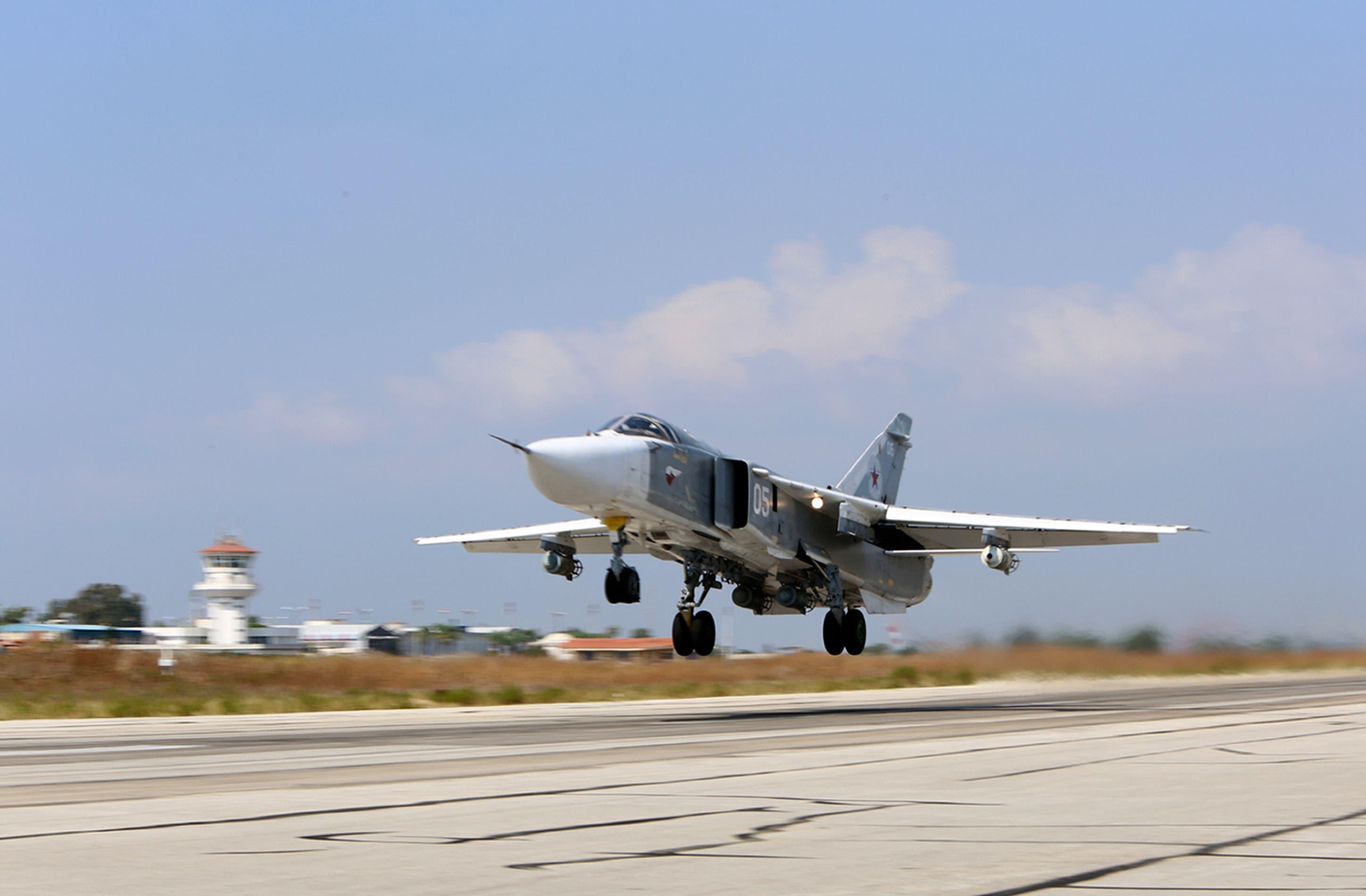 مقاتلة روسية تقلع من قاعدة سورية