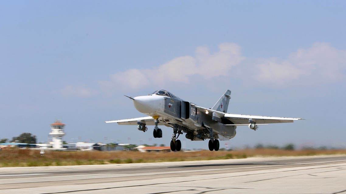 In this photo taken on Saturday, Oct. 3, 2015, Russian SU-24M jet fighter armed with laser guided bombs takes off from a runaway at Hmeimim airbase in Syria. The skies over Syria are increasingly crowded, and increasingly dangerous. The air forces of multiple countries are on the attack, often at cross purposes in Syria's civil war, sometimes without coordination and now, it seems, at risk of unintended conflict. The latest entry in the air war is Russia. It says it is bombing the Islamic State in line with U.S. priorities, but the U.S. says Russia is mainly striking anti-government rebels in support of its ally, President Bashar Assad. The Russians, who are not coordinating with the Americans, reportedly also have hit U.S.-supported rebel groups. (AP Photo/Alexander Kots, Komsomolskaya Pravda, Photo via AP)