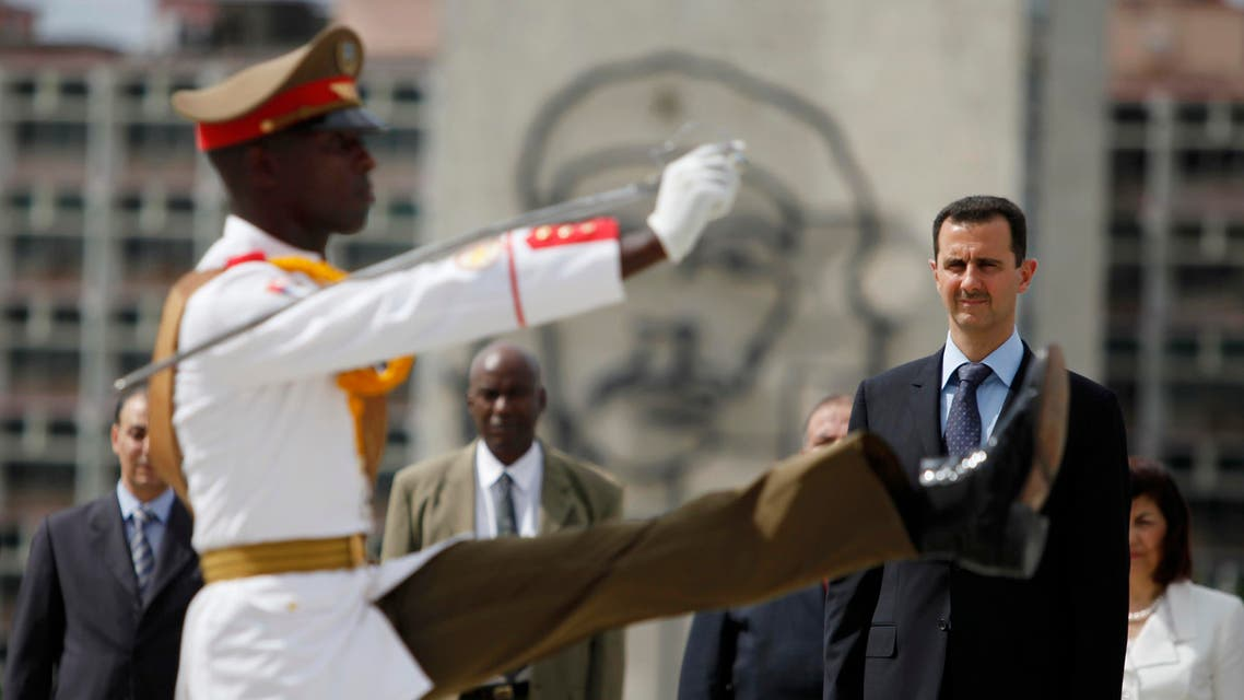 Syria's President Bashar al-Assad attends a wreath-laying ceremony at the Jose Marti monument in Havana, Monday June 28, 2010. Al-Assad is in Cuba for an official visit.(AP Photo/Javier Galeano)