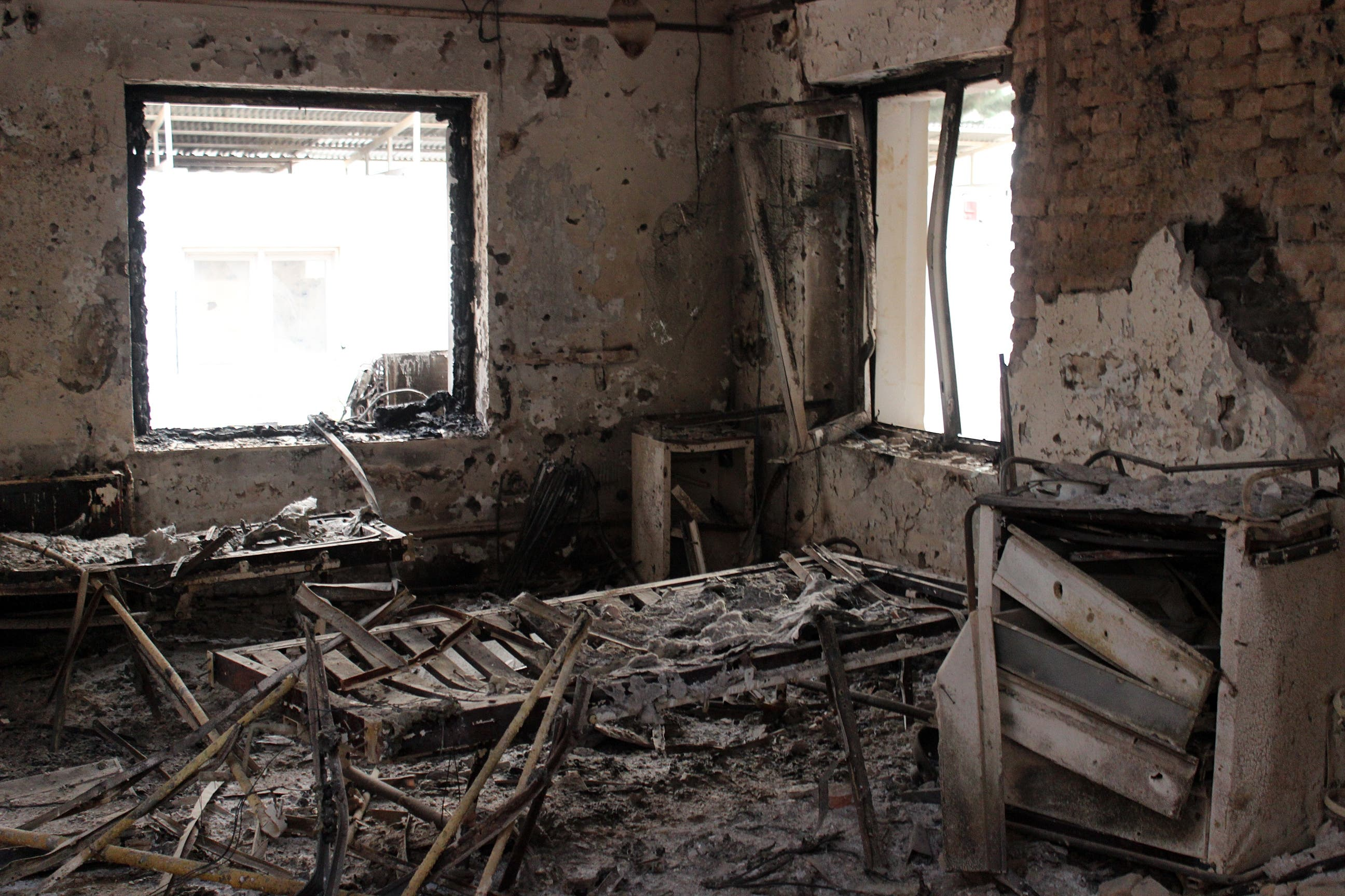 In this Friday, Oct. 16, 2015 photo, the charred remains of the Doctors Without Borders hospital is seen after it was hit by a U.S. airstrike in Kunduz, Afghanistan.