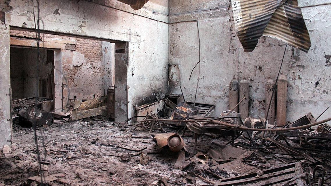 In this Friday, Oct. 16, 2015 photo, the charred remains of the Doctors Without Borders hospital is seen after being hit by a U.S. airstrike in Kunduz, Afghanistan. (AP)