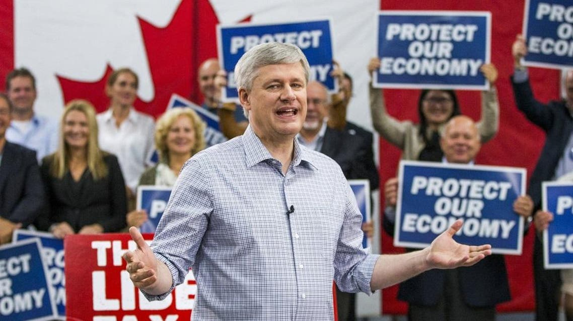 Canada's Prime Minister and Conservative leader Stephen Harper speaks during a campaign rally at William F. White International Inc, a stage lighting equipment supplier in Etobicoke, a suburb of Toronto, October 13, 2015