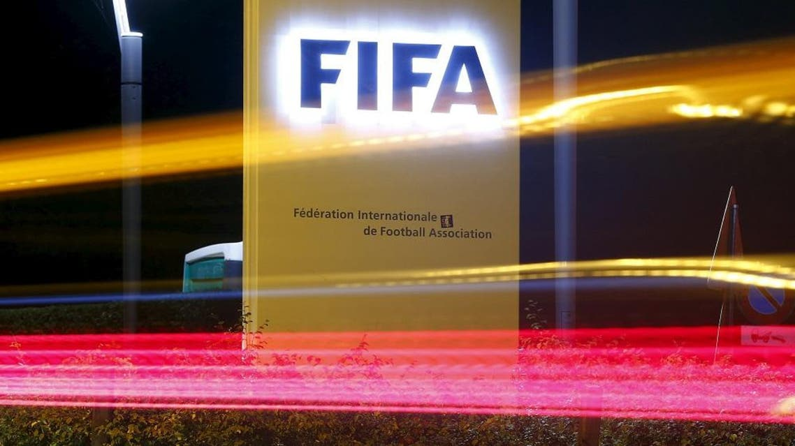 The FIFA logo is seen outside their headquarters in Zurich October 7, 2015