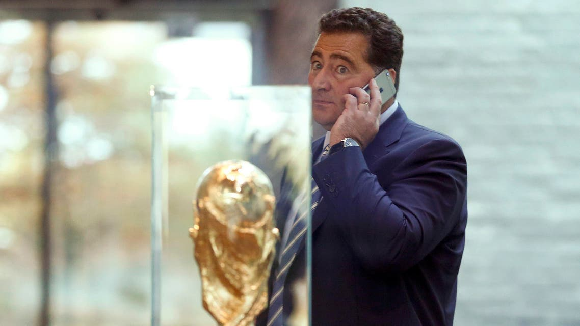 Domenico Scala, Chairman of the FIFA's Audit and Compliance Committee uses his mobile phone after an extraordinary meeting of the FIFA Executive Committee at FIFA's headquarters in Zurich, Switzerland October 20, 2015. REUTERS/Arnd Wiegmann