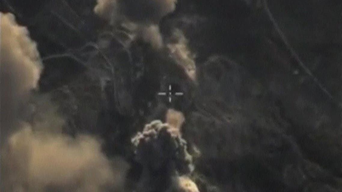 A frame grab taken from footage released by Russia's Defence Ministry October 12, 2015, shows what Russia says is smoke rising after air strikes carried out by the Russian air force on Islamic State's transfer point near the village of Salma in Latakia province, Syria. Russia's Defence Ministry said on Monday that Russian military airplanes had carried out 55 sorties in Syria in the past 24 hours and hit 53 Islamic State targets there, Russian news agencies reported. REUTERS/Ministry of Defence of the Russian Federation/Handout via ReutersATTENTION EDITORS - THIS IMAGE WAS PROVIDED BY A THIRD PARTY. REUTERS IS UNABLE TO INDEPENDENTLY VERIFY THE AUTHENTICITY, CONTENT, LOCATION OR DATE OF THIS IMAGE. IT IS DISTRIBUTED EXACTLY AS RECEIVED BY REUTERS, AS A SERVICE TO CLIENTS. FOR EDITORIAL USE ONLY. NOT FOR SALE FOR MARKETING OR ADVERTISING CAMPAIGNS. NO SALES.