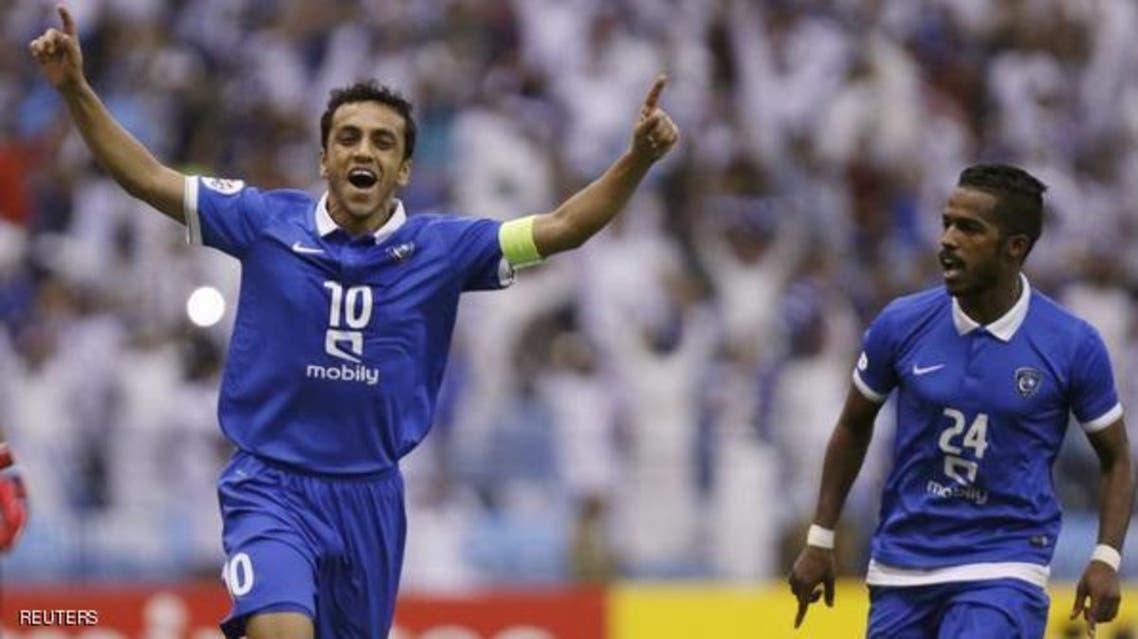 Mohammad Al-Shalhoub (C) of Saudi Arabia's Al-Hilal celebrates after scoring a goal against Iran's Persepolis during their AFC Champions League match at King Fahd stadium in Riyadh, May 26, 2015. (File photo: AP)