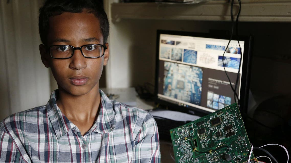 Irving MacArthur High School student Ahmed Mohamed, 14, was arrested and interrogated by police Monday after bringing a homemade clock to school.  (Vernon Bryant / The Dallas Morning News via AP)