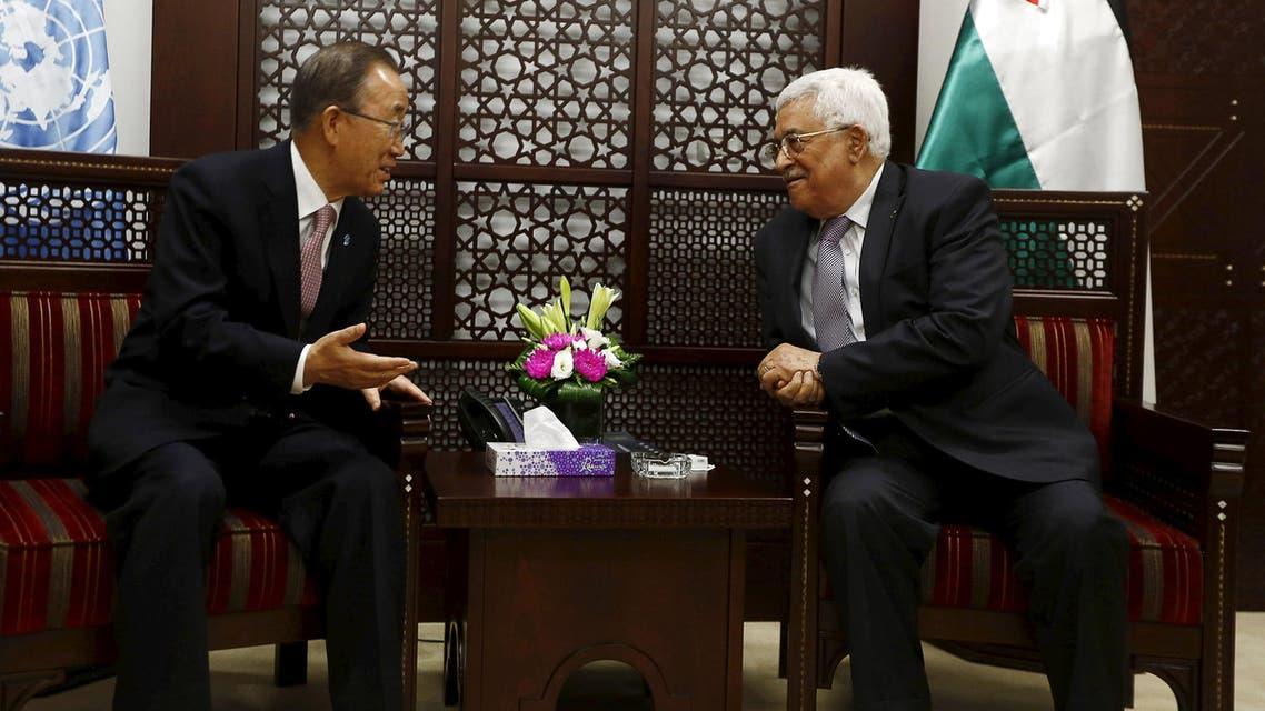 Palestinian President Mahmoud Abbas (R) meets U.N. Secretary-General Ban Ki-moon in the West Bank city of Ramallah October 21, 2015.