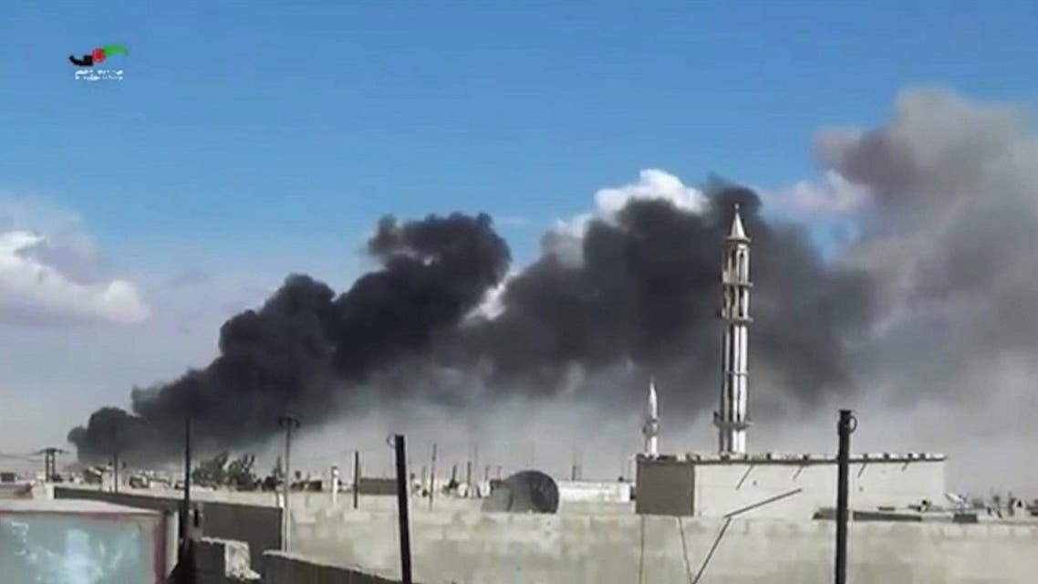 In this image made from video provided by Homs Media Centre, which has been verified and is consistent with other AP reporting, smoke rises after airstrikes by military jets in Talbiseh of the Homs province, western Syria, Wednesday, Sept. 30, 2015. (AP)