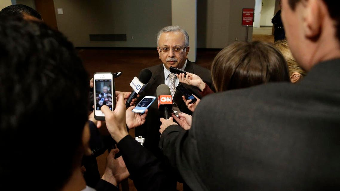 Saudi Arabia Ambassador to the United Nations Abdallah Y. Al-Mouallimi, center, speaks to reporters outside a Security Council consultation Saturday, April 4, 2015. (AP)