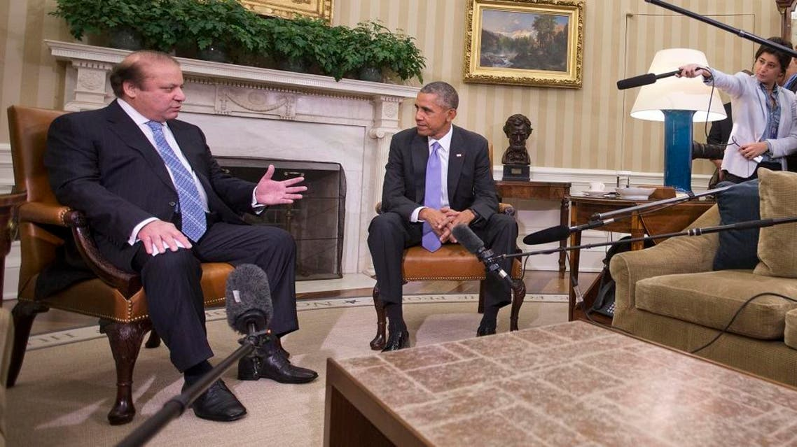 President Barack Obama listens to Pakistani Prime Minister Nawaz Sharif during their meeting in the Oval Office. (AP)