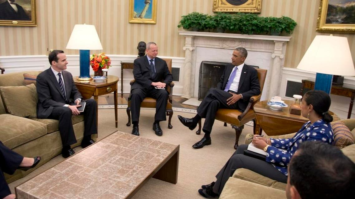 President Barack Obama meets with Deputy Special Presidential Envoy Brett McGurk (far left). (File: AP)