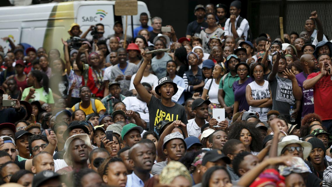 S. African students protested tuition fee hikes