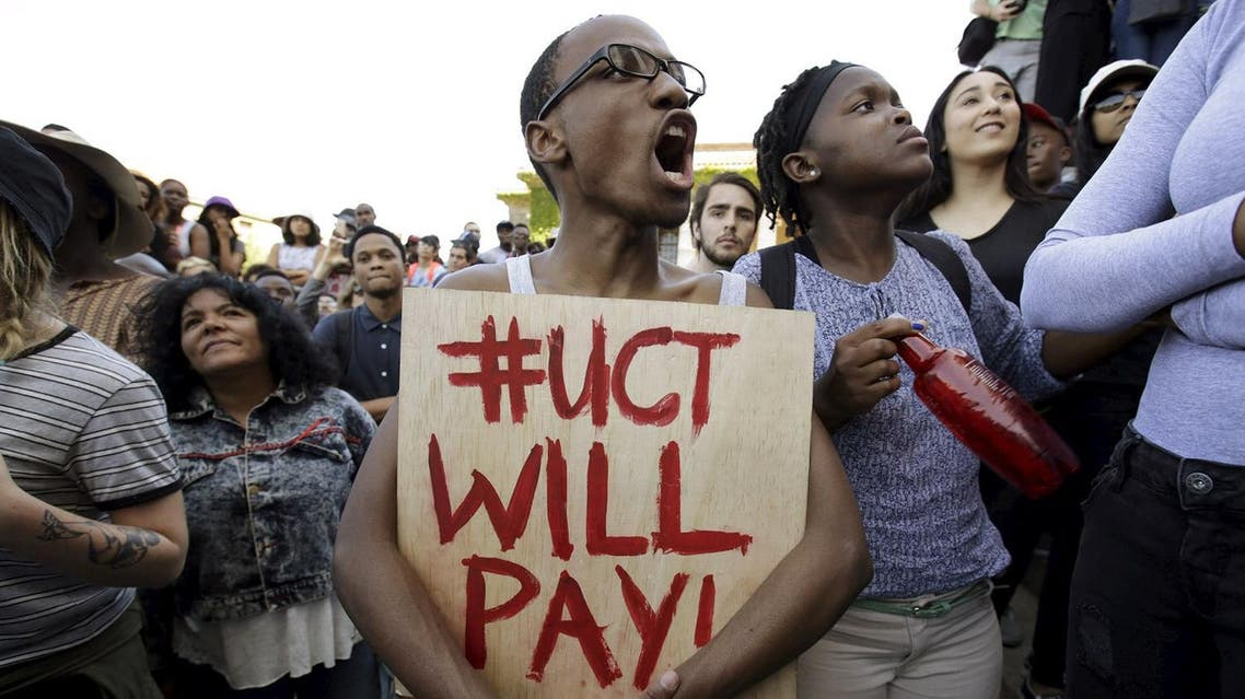 Students protest during a mass demonstration on the steps of Jameson Hall at the University of Cape Town. (Reuters)