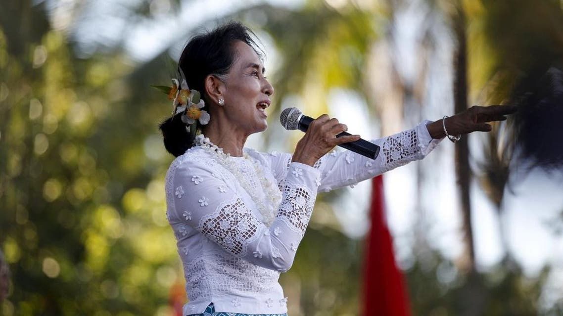 Myanmar pro-democracy leader Aung San Suu Kyi gives a speech during her campaign rally for the upcoming general elections in Toungup, Rahine state. (File: Reuters)