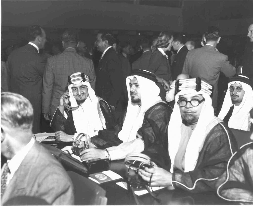 Members of the Saudi Arabian Delegation seated in Assembly Hall before the opening meeting of the second regular session of United Nations General Assembly. (L-R) Prince Faisal bin Abdul Aziz, Chairman of delegation; Shaikh Ali A. Alireza, Representative; Shaikh Hafiz Wahba, Representative.  Flushing Meadows, New York, in September 1947