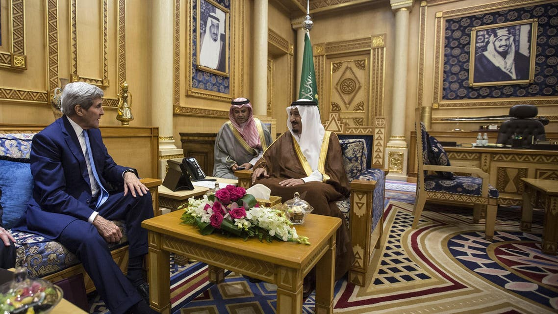 U.S. Secretary of State John Kerry (L) meets with King Salman of Saudi Arabia in Diriyah Farm, Saudi Arabia. (Reuters)