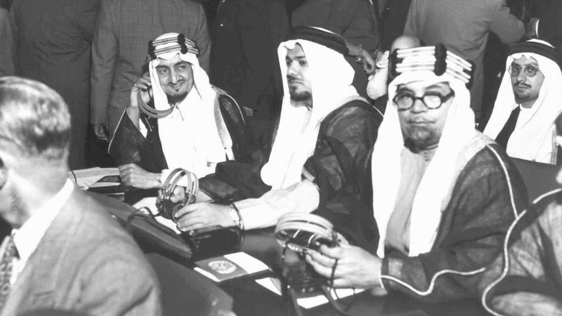 Members of the Saudi Arabian Delegation seated in Assembly Hall before the opening meeting of the second regular session of United Nations General Assembly are, left to right: H.R.H Prince Faisal bin Abdul Aziz, Chairman of delegation; Shaikh Ali A. Alireza, Representative; Shaikh Hafiz Wahba, Representative. Flushing Meadows, New York, 16 September 1947. (Courtesy of U.N.)