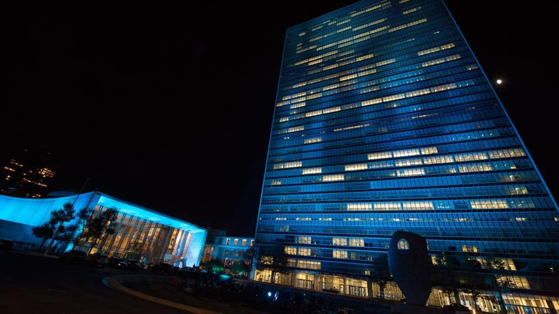 UN Headquarters in New York lit up blue for two nights, beginning 23 October when the annual UN Day concert is held, and concluding on 24 October, celebrated as UN Day since 1948. UN Photo/Eskinder Debebe.