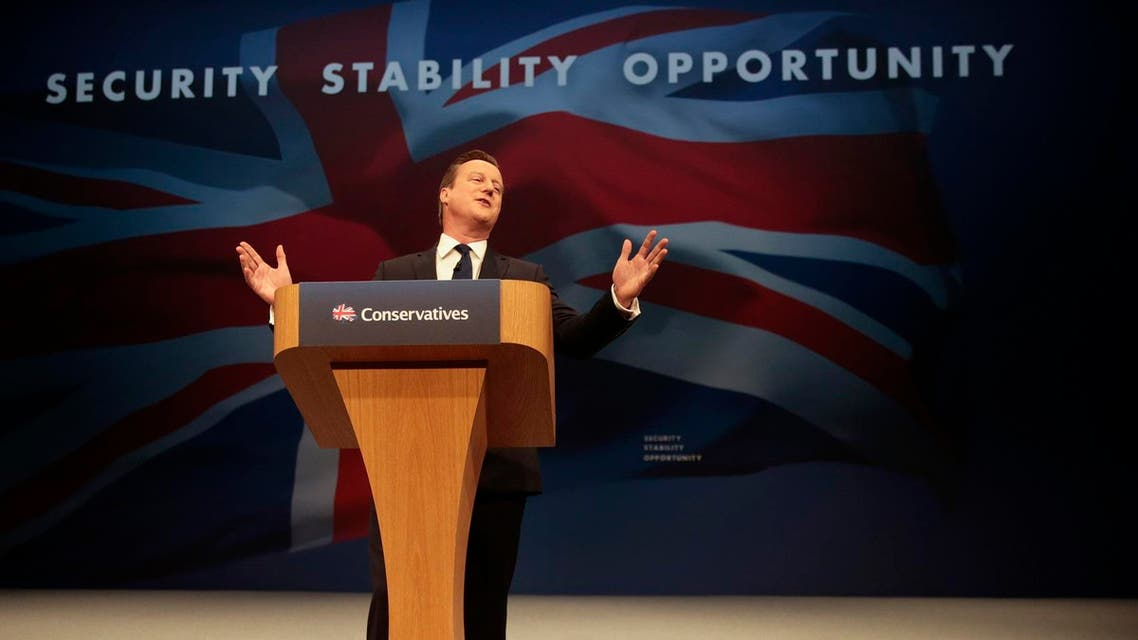 Britain's Prime Minister David Cameron gestures as he delivers his keynote address at the annual Conservative Party Conference in Manchester, Britain October 7, 2015. (Reuters)