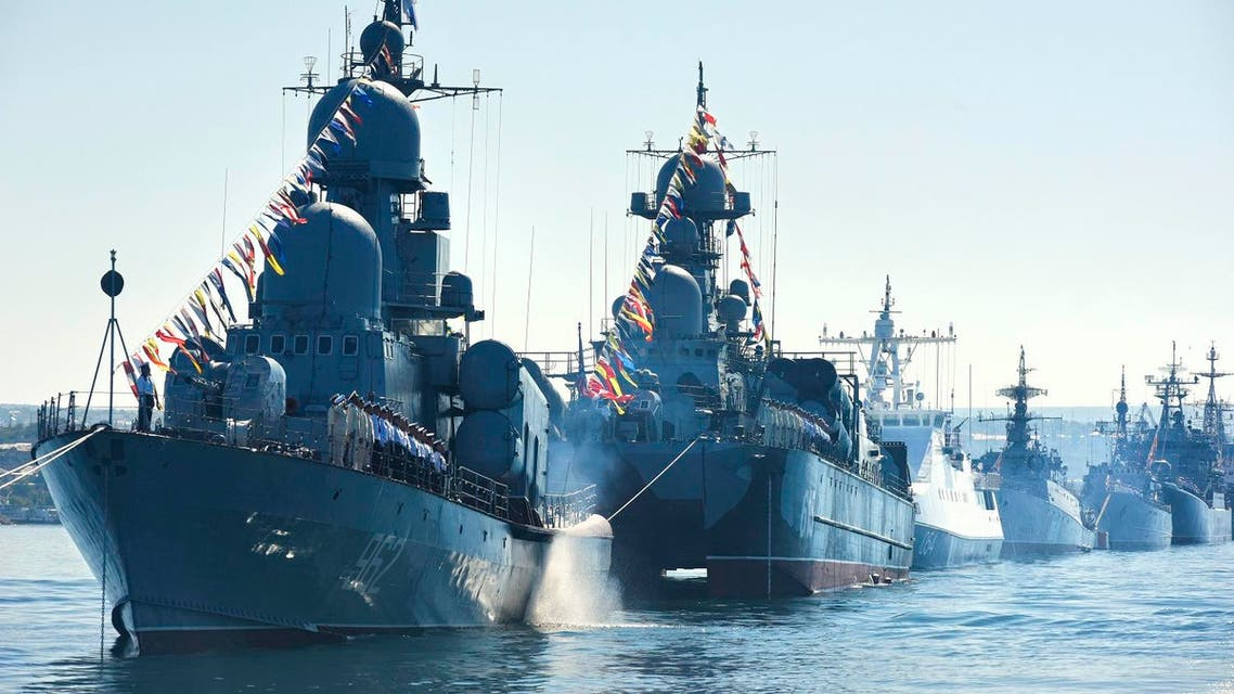 Russian navy battle ships station in the bay during a rehearsal of the Russian Navy Day parade in Sevastopol, Crimea. (File photo: AP)