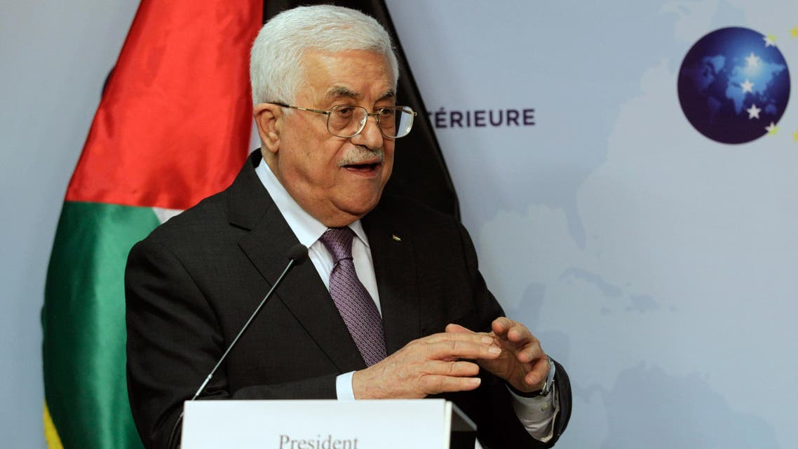 Palestinian President Mahmoud Abbas speaks during a media conference after a meeting at the EU External Action Service building in Brussels on Monday, Oct. 26, 2015. (AP