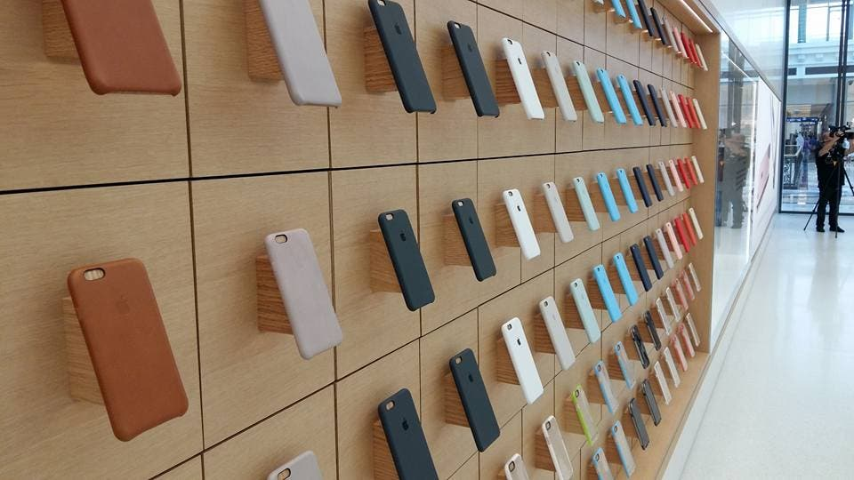 Cases for Apple's iPhone on display in the Dubai store (Al Arabiya)