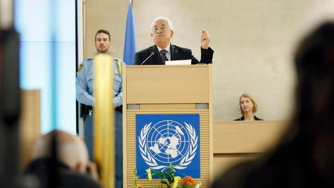 Palestinian President Mahmoud Abbas gestures as he addresses the special meeting of the Human Rights Council at the United Nations European headquarters in Geneva, Switzerland October 28, 2015. Reuters