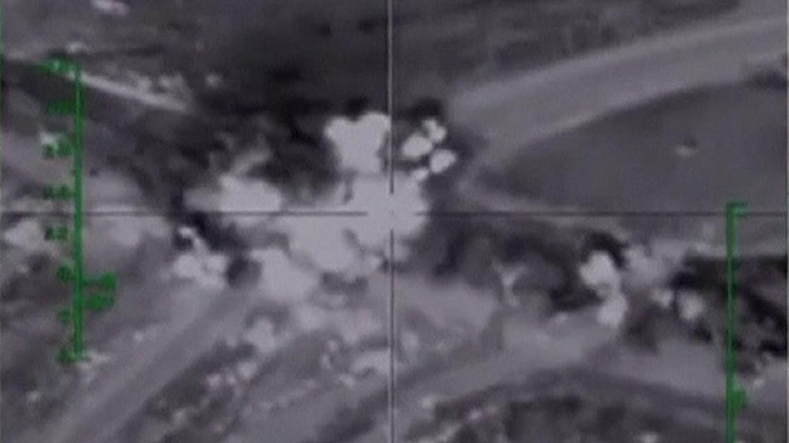 Frame grab taken from footage shows airstrikes carried out by the Russian air force between Hama and Aleppo. (Reuters)