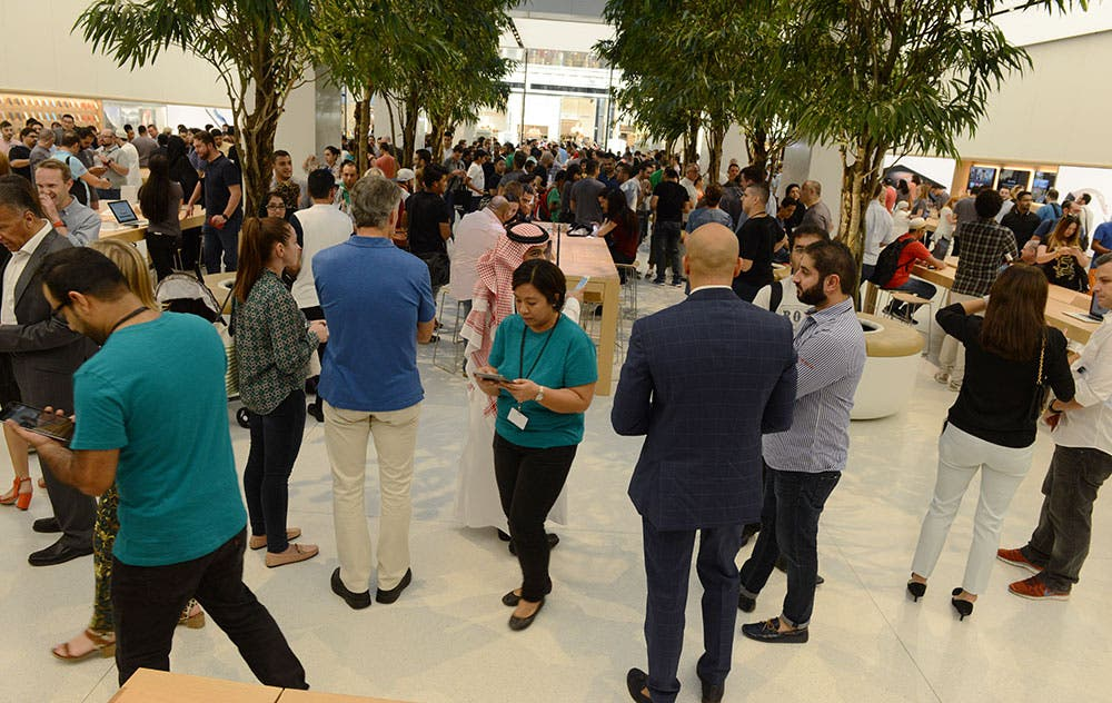 Customers, members of the media and staff mingle at the Dubai Apple store opening (Photo: Peter Harrison)