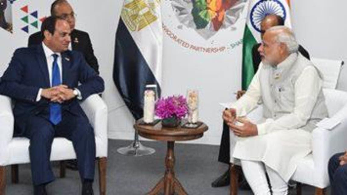 الرئيس المصري عبد الفتاح السيسي ورئيس وزراء الهند ناريندرا مودي