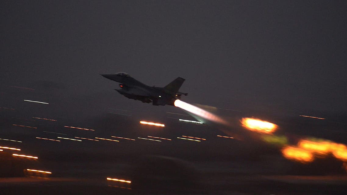 A U.S. F-16 Fighting Falcon takes off from Incirlik Air Base, Turkey, to launch airstrikes against ISIS
